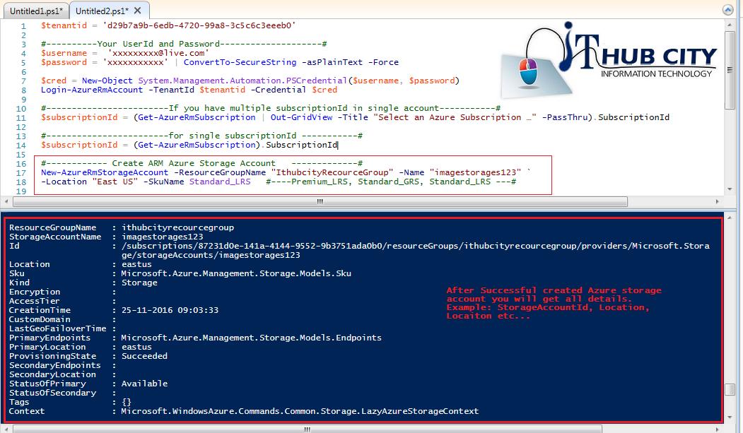 Create Azure Rm Storage Account Using Powershell