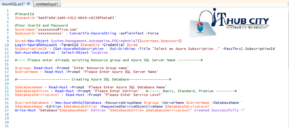 Create Azure SQL Database Using Powershell