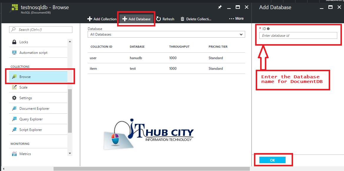 Create Database For DocumentDB Using azure Portal