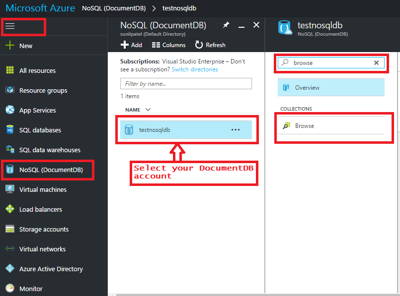 Create Database For DocumentDB Using azure Portal