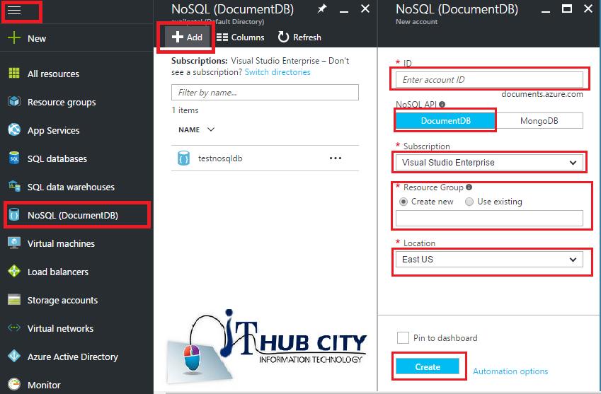 Create DocumentDB Using azure Portal