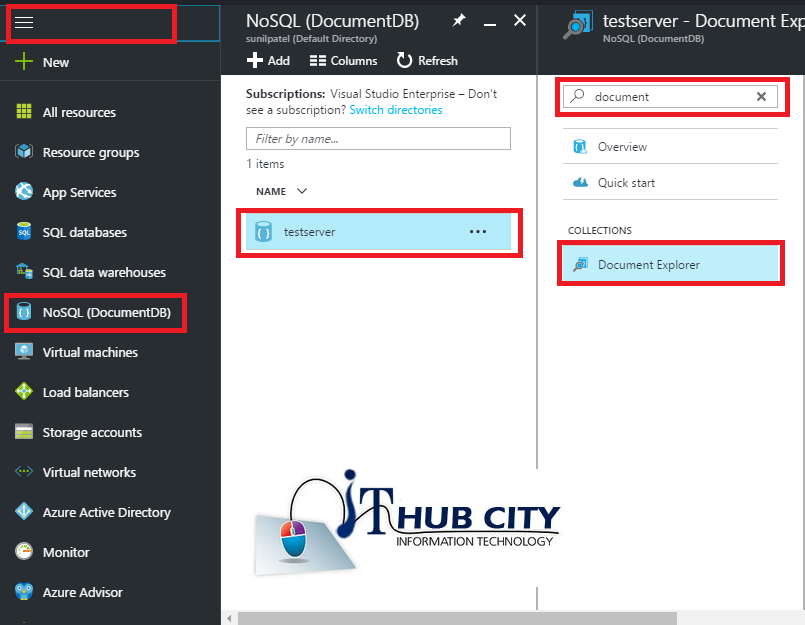Create Document In Collection Using Azure Portal