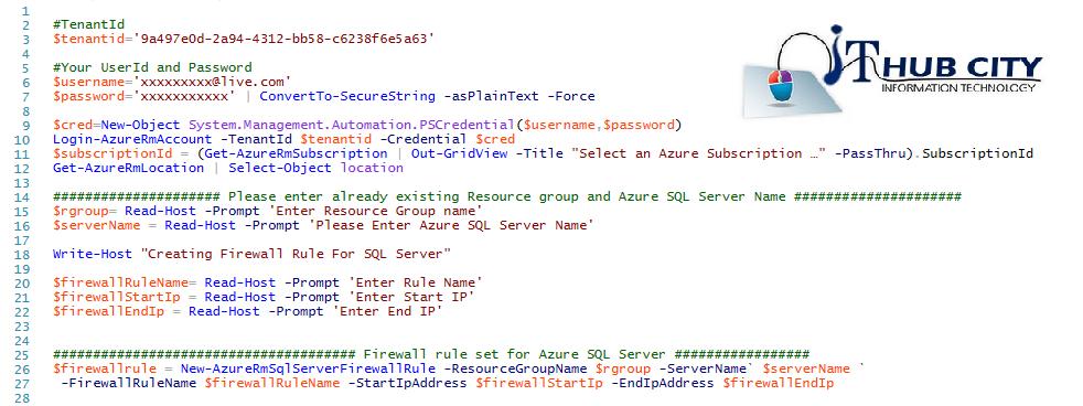 Create Firewall Rule In Azure SQL Server Using Powershell