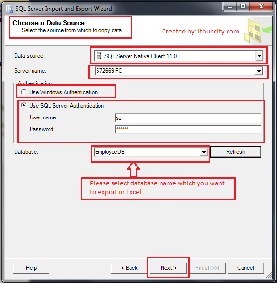 Export Excel fron the Database in SQL Server