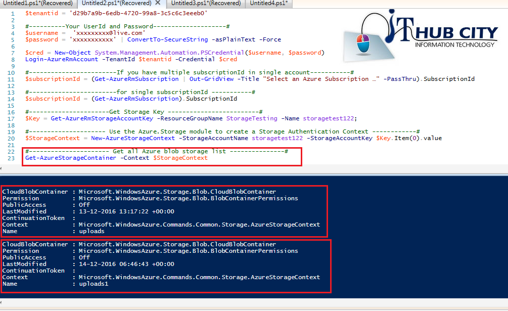 Get all azure blob storage list using powershell command