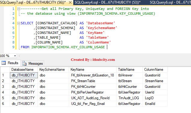 Retrive the List of Primary/Foreign/Unique Key using INFORMATION_SCHEMA.KEY_COLUMN_USAGE View