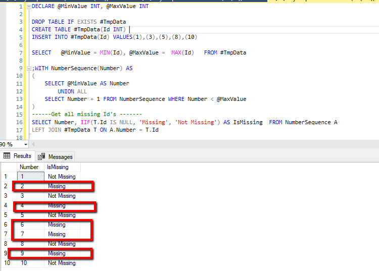Find missing id in SQL Server without loop.
