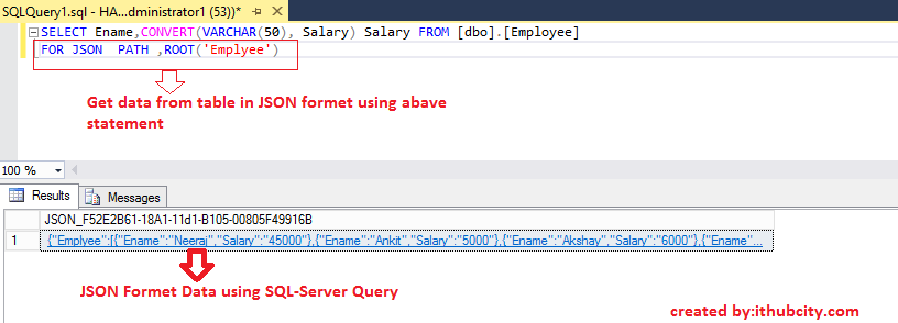 SQL-SERVER Query in JSON