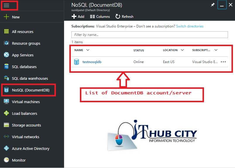 List Of DocumentDB Account Using azure Portal