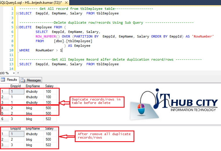 Sql server delete remove duplicate record or rows from for Sql table design query