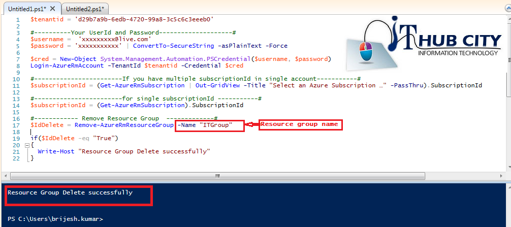 Remove Resource Group In Azure Using Powershell Command