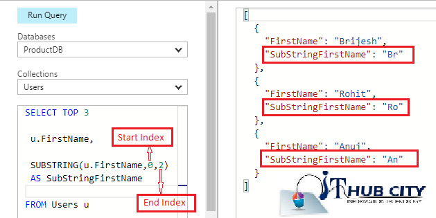Sub String In Azure Document DB